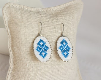 Hand embroidered earrings - blue Ukrainian cross stitch - textile jewelry - dangle earrings - made by Skrynka - e001blue