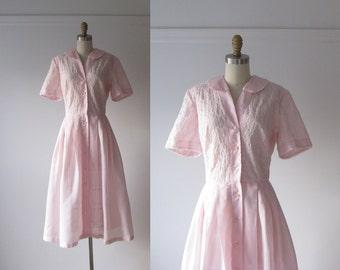 vintage 1950s dress / 50s dress / Pink Clouds