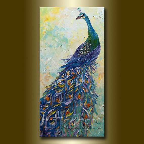 peacock painting original oil on canvas textured palette knife