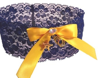 Police Officer or Sheriff's Deputy Navy Blue and Gold Stretch Lace Wedding Garter with Your Choice of Law Enforcement Badge