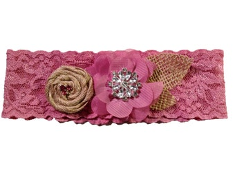 Mauve Dusty Pink Rose Pink Stretch Lace Shabby Chic Bridal Garter with Burlap Flower Rustic Garter