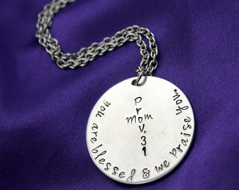 Proverbs 31 Mom scripture hand stamped necklace