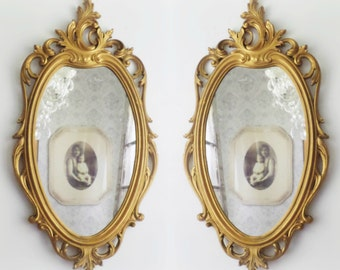 O V A L Shabby Chic Mirror Lacey French Country Powder Room Vanity
