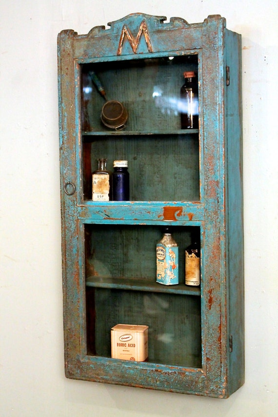 Distressed Turquoise Blue Red Teal Glass Hanging Bathroom Kitchen