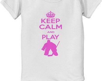KEEP CALM shirt - keep calm and Play Hockey Goalie Bodysuit baby infant - Future NHL player pro ice hockey player sports t-shirt