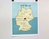 I Love You in Germany // Typographic Print, German Map, Giclee, Modern Baby Nursery Decor, Illustration, European Travel Theme, Digital