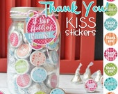 THANK YOU Chocolate KISS Mason Jar Gift Set with Tag & Topper, Jar of Thanks - Printable Kiss Stickers - Instant Download