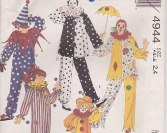 Clown Costume Pattern Child Size 2 - 4  Chest 21 -23 Uncut 1990  McCalls 4944