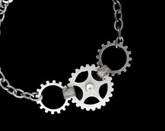 Steampunk Silver Gears Bracelet with Gears, Cogs and Swarovski Rhinestones in Silver plated Brass by Dr Brassy Steampunk