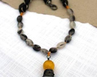 Tourmaline quartz, Tourmalined quartz, black, quartz, grey, yellow, gemstone, mixed media, bohemian, necklace by Esfera Jewelry