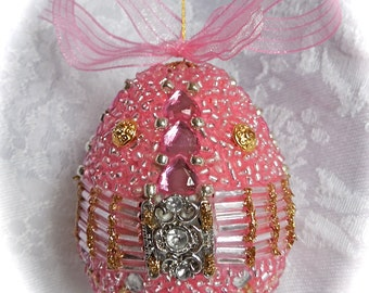 Faberge-like Beaded Egg Ornament Pink