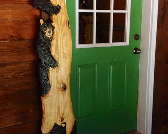 Black Bear in tree sculpture 6 ft. chainsaw wooden bear cubs carving wildlife home decor log cabin wall mount rustic art