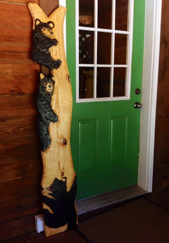Three Black Bear in tree sculpture 6 ft. chainsaw wood bear cubs carving wildlife home decor log cabin wall mount rustic art