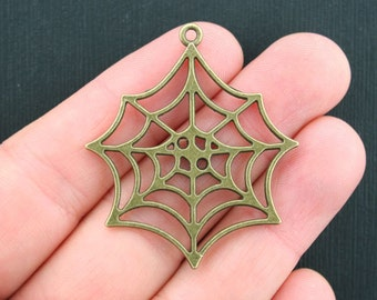 4 Large Spider Web Charms Antique Bronze Tone 2 Sided - BC1012