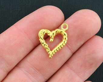 10 Heart Charms Gold Tone Elegant Design - GC340
