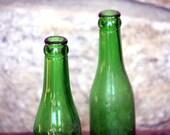 Vintage Pair of Green Glass Bottles
