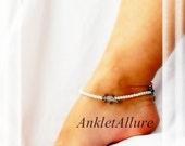Gecko Charm Lizard Anklet Aqua Blue Crystal Pearl Ankle Bracelet