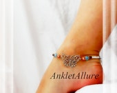 Wings On My Feet Butterfly Anklet Sky Blue Crystal Copper Fusion Silver Ankle Bracelet