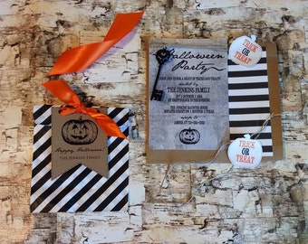 Halloween Party Invitation with jute cord and paper card key embellishment and kraft paper envelopes
