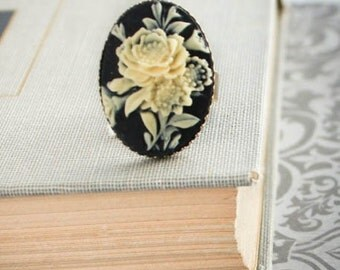 Black Flower Cameo Ring Vintage Style Adjustable Ring Ivory Rose Cameo Romantic Large Cocktail Ring Bridesmaids Gift Large Statement Ring