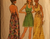 Simplicity 5683 Misses Back Wrap Halter Dress Sewing Pattern  Sz 12
