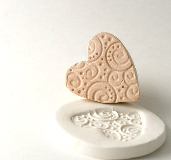 Pottery Texture Stamp Heart with Spirals Swirls and Dots