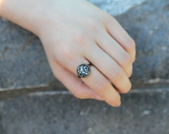 galaxy ring, space ring, glass done ring, adjustable, universe jewelry, black and white