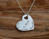 Heart Necklace Sterling Silver Personalized Stamped Kids Names Necklace for Mom Wife Jewelry Anniversary Gift Jewelry for Wife Mom Grandma