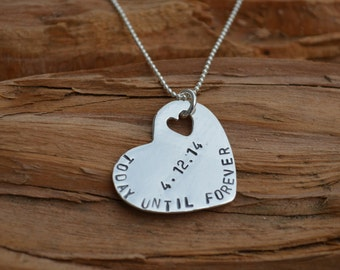 Heart Necklace Sterling Silver Personalized Stamped Names Necklace for Mom Wife Jewelry Anniversary Gift Jewelry for Wife Mom Girlfriend