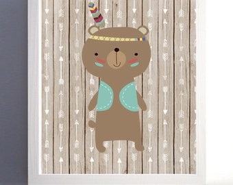 Tribal Nursery Forest Woodland Kids Room Bear Feather Art Print more colors available