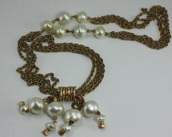 Pearl Gold Chain Pearl Pendant Multi Strand Necklace