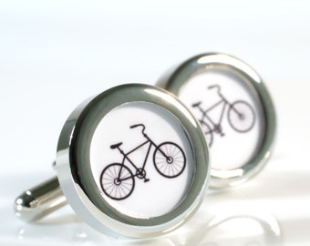 Bike Cufflinks Bicycle Gift for Grooms, Anniversary, Birthdays or Just Because