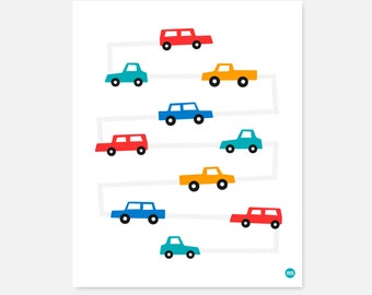 Nursery Art Print | Download | Motorway Car & Truck | Kids, Children Decor | Printable