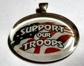 Glass Tile Pendant - Support our Troops