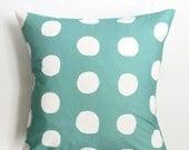 Large Aqua Dot Pillow Cover - Kid Bedding - Aqua White Polka Dot Pillow Cover - 18 x 18