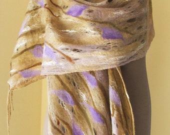 Felted scarf wrap,  felted scarf, nuno felt, wet felt wrap, wet felted scarf, beautiful multi colors, Art to wear