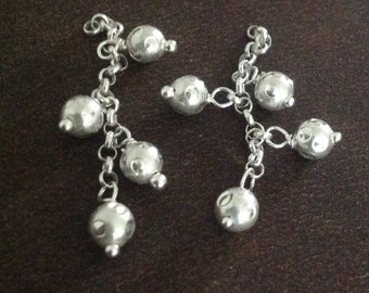 Sterling Silver Tassle Charms - Chain n Ball Charms - Bauble Drops   - C28