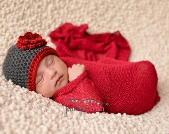 Crochet Baby Beanie Newborn to 5T Charcoal/Autumn Red Flower Hat - MADE TO Order