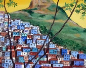 "The Blue Favela Rio de Janeiro Brazil Corcovado Original Painting stretched canvas,18""x 24"", Free Shipping in USA."