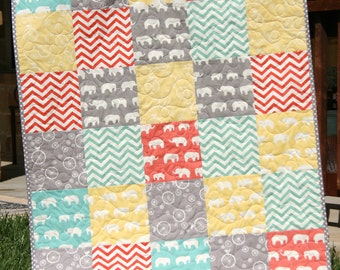 Organic Baby Quilt, Blue Coral Pink Grey Gray, Birch Fabric, Chevron Elephants, Modern Blanket, Chevron Crib Blanket Bedding, All Natural