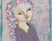 She Wears Flowers in her Hair, Spring Greeting Card or Photographic Art Print