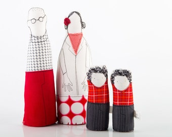 Soft sculpture - family portrait dolls parents & two children twin boys in red ,gray .Studded dotted geometric - timohandmade eco dolls