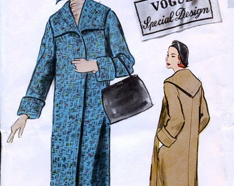 Vogue S-4821 Special Design Vintage 50s Misses' Coat Sewing Pattern - Uncut - Size 12 - Bust 32