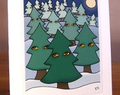 Weird Holiday Greeting Card, Creepy Christmas Card, Winter, Xmas Trees, Bizarre Blank Card
