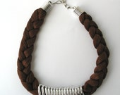 Brown statement necklace - rope necklace - braided necklace    E112