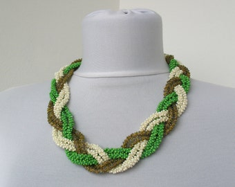 30% OFF SALE - Green white olive statement necklace - crocheted seed beads necklace - braided necklace    E177