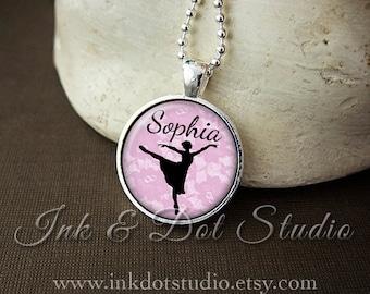 Personalized Necklace, Ballerina Silhouette Pendant, Dancer Gift, Personalized Ballerina Gift, Ballerina Necklace, Custom Dance Jewelry