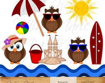INSTANT DOWNLOAD - Digital Clip Art - Beach clipart, beach clip art, owl clipart, owl clip art, summer, sand, surf, waves, umbrella, sun
