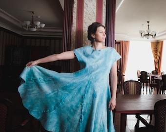Turquoise flared dress, mint felting wool dress, fashion dress, sundress wedding mint dress, custom size