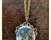 Vintage Painted Ceramic Enamel Pendant Necklace